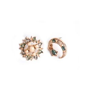 CatstoneNYC Gold-Plated Crescent Stud Earrings